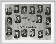 Class of 1942 - Frank Marak, Robert Klug, Betty Jo Twiselton, Gerald Hinman, Earl Brenner, James Birdsong, Loa Ruth Anderson, Coach Dick, Sponsor, <br>Jack Cheney, Adelaide Klee, Kenneth Donecker, Jesse Lee Barnes, Donna Hinman, Leonard Mills, Rachel Curtis, Norval Brown