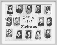 Class of 1943 - Top row  Rachel Schutte, Leon Higgins, Margaret Buxton, Sponsor, Donald Ramsey, Emma Rose Showalter 2nd row Laytha Ryan, Maurice Klee, Donald Hinman, Norma Ryan 3rd row Betty Nowles, Mary Ann Moran, Helen Smith, Willa Lee Webster, Charlotte Herdman
