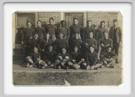 Class of 1933 - Football Team - Class of 1933 members have an *: Wilbur Hawley, Ralph Tanck*, Allen Elmore*, Forrest Ramsey, Orel Schadel*, Lester Doerr, Sam Higgins, Coach Carmichael, 2nd row:  Leo Marak, Richard Ryan, Eugene McGaughey, Cecil Phillips*, Franklin Elmore, Durward Horn*, Front row:  Harley Tanck, Thomas Barnes, Bard Stephens, Carl Higgins, Elmer Roughton*, Dean Irvin, Class members not shown, Harley Irvin, Louise Johnson, Dorothy Skinner, Ruby North.